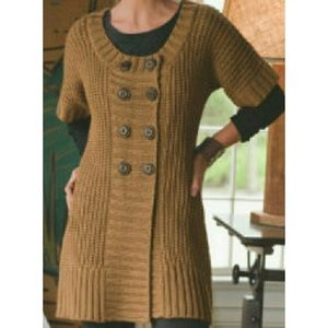 Soft Surroundings brown button sweater size LP